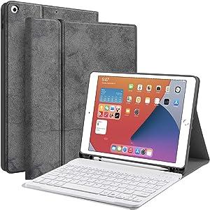 Keyboard Case for iPad 10.2 8th 7th Generation - JUQITECH Smart Case with Wireless Keyboard iPad 10.2