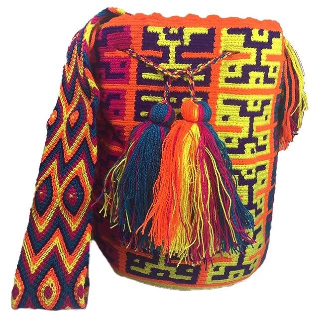 Wayuu Mochila Traditional Ethnic Bag -Large- 100% Real Crochet Hand Woven in Colombia -Cotton- Multicolor: Handbags: Amazon.com