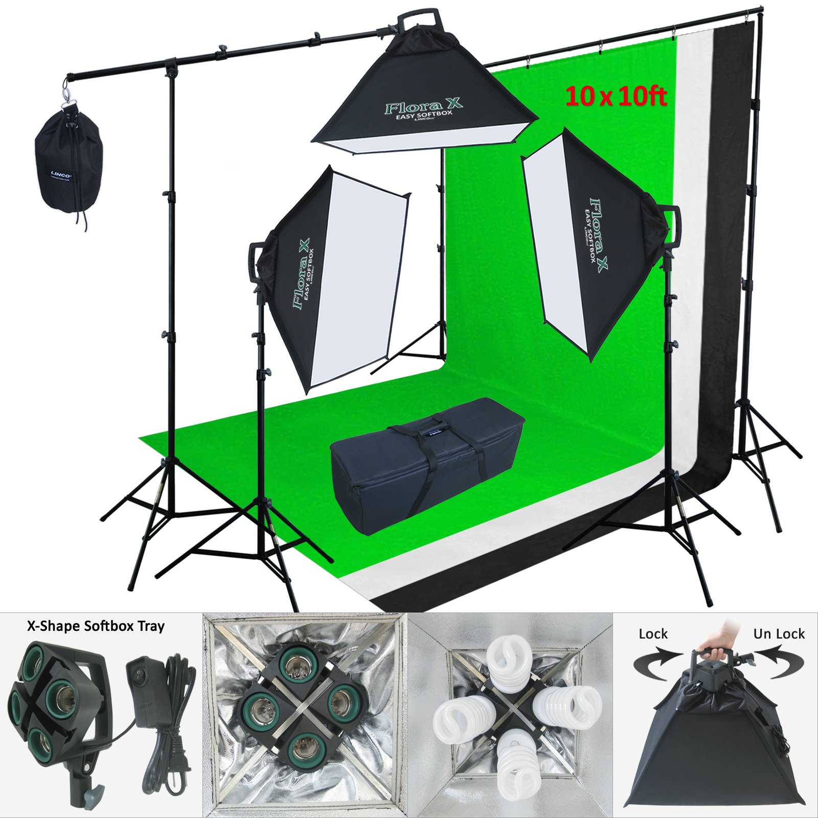 Linco Lincostore 2400 Watt Flora X Photo Studio Lighting 10x10 Feet 3 Backdrops Photography Background Stand Light Kit AM143