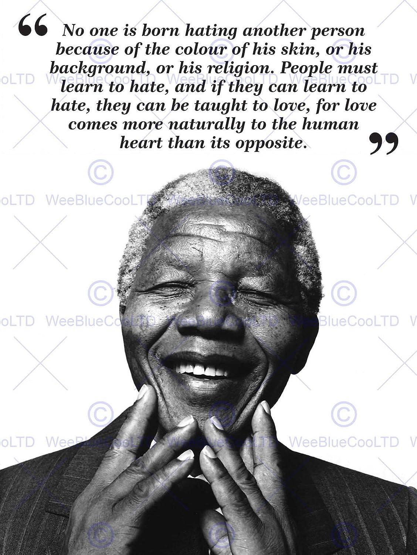 Amazon No One Is Born Hating Nelson Mandela Bw Typography Quote