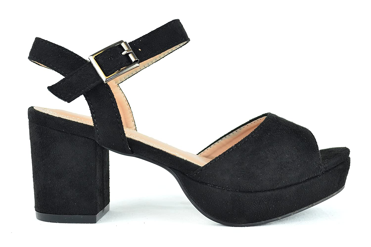 Chase & Chloe Drama 1 Sling Back Ankle Strap Women's Low Platform by Chase & Chloe