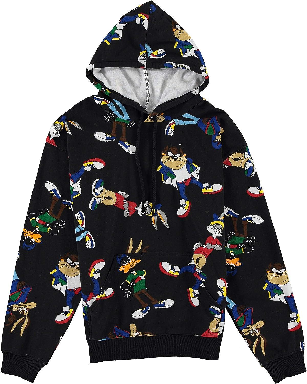 Looney Tunes Mens Hoodie - Bugs Bunny Taz Marvin Hooded Sweatshirt - 90's Hoodie