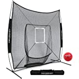 PowerNet DLX 7x7 Baseball Softball Hitting Net + Weighted Heavy Ball + Strike Zone Bundle | Training Set | Practice Equipment Batting Soft Toss Pitching | Team Color | Portable Backstop