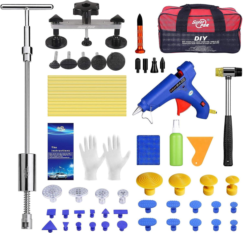 HIP TEC - Kit de eliminación de abolladuras sin pintura, kit de extracción de dientes de puente para el disolvente de daños de granizo de carrocería automático de coche