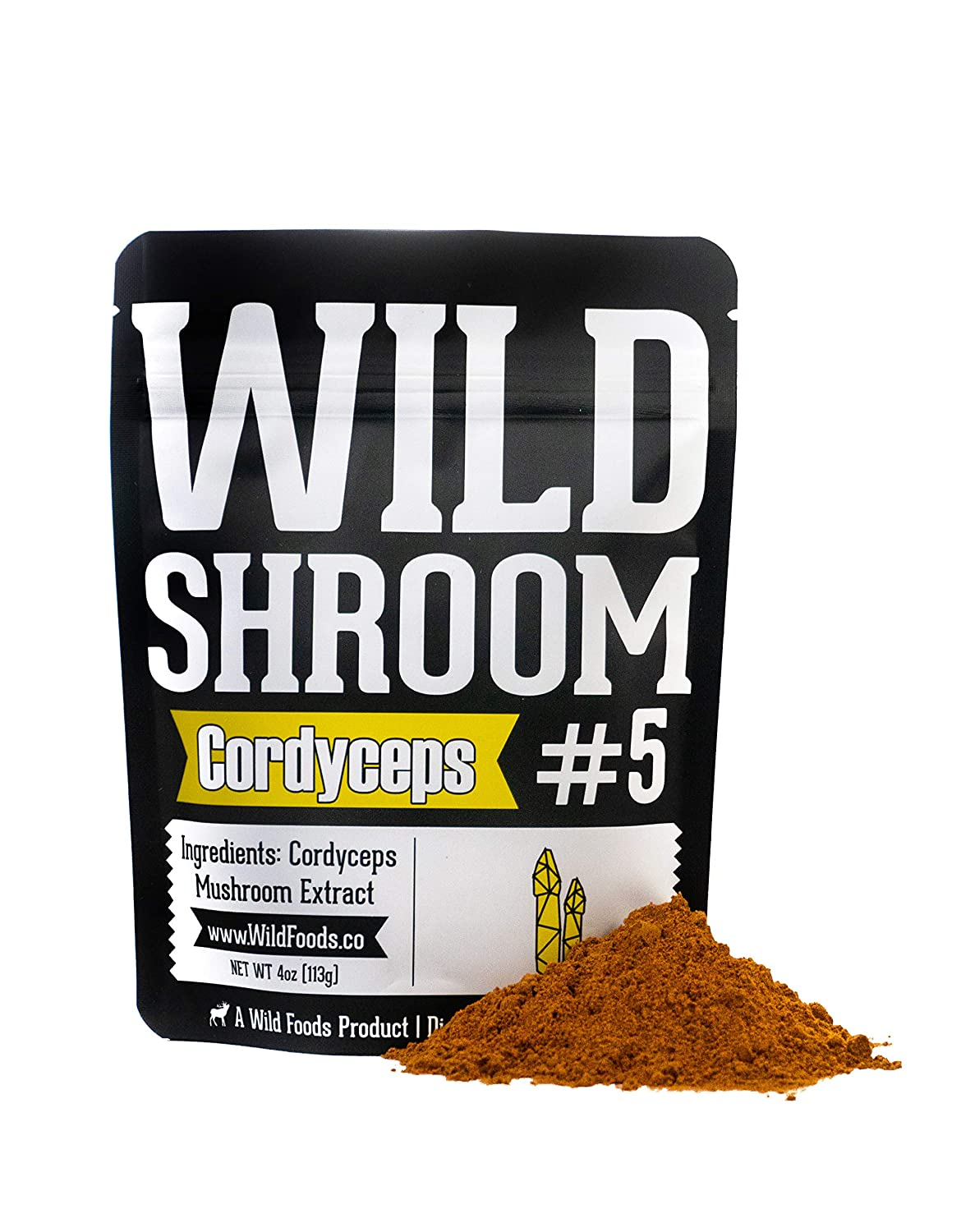 Cordyceps Mushroom Extract Powder 10 1 by Wild Foods Cultivated Mycelium, Triple Hot Water Extract Adaptogenic Nootropic Herb for Focus, Memory and Health Two 4 Ounce