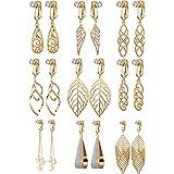 1/3/4/9 Pairs Pearl Clip on Earrings for Women Dangle- Long Teardrop Seashell Pearl Clipon Earrings-Non Piercing Earrings Set