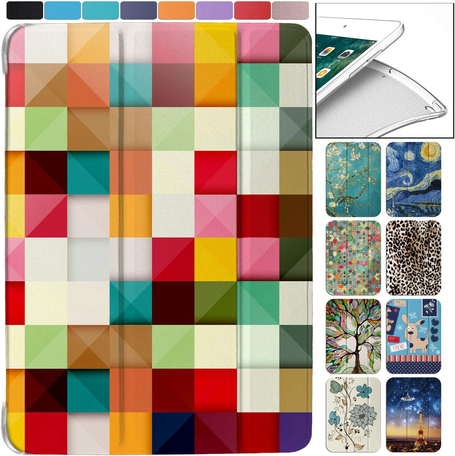 DuraSafe Cases for iPad Mini 1st Gen/Mini 2nd Gen/Mini 3rd Gen - 7.9 MGNV2LL/A MGYE2LL/A MGNR2LL/A Ultra Slim Energy Saving Printed Case with Adjustable Stand Feature and Sleek Design - Color Grid