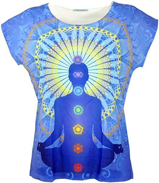 GURU-SHOP, Camiseta Psytrance, Camiseta Yoga, Camiseta Retro, Multicolor, Sintético, Tamaño:38, Camisetas, Camisetas, Camisetas
