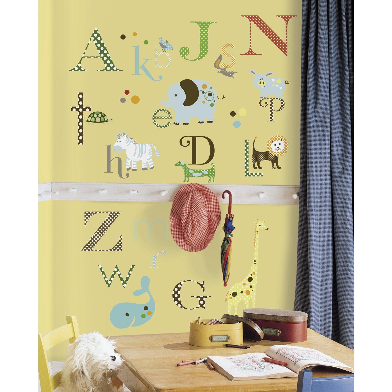 Alphabet wall decals roselawnlutheran amazon roommates rmk1440scs animal alphabet peel u0026 stick wall decals home improvement amipublicfo Gallery