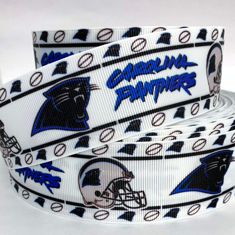 "5 Yards 7//8/"" Carolina Panthers Grosgrain Ribbon Football Crafts Bows Scrapbook"