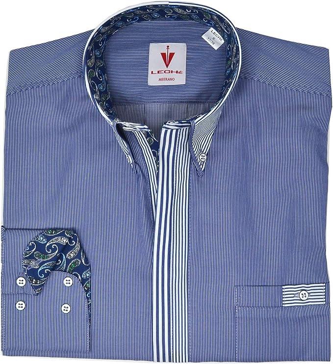 Leché Camisa de diseño de Manga Larga en Azul Claro a Rayas ...