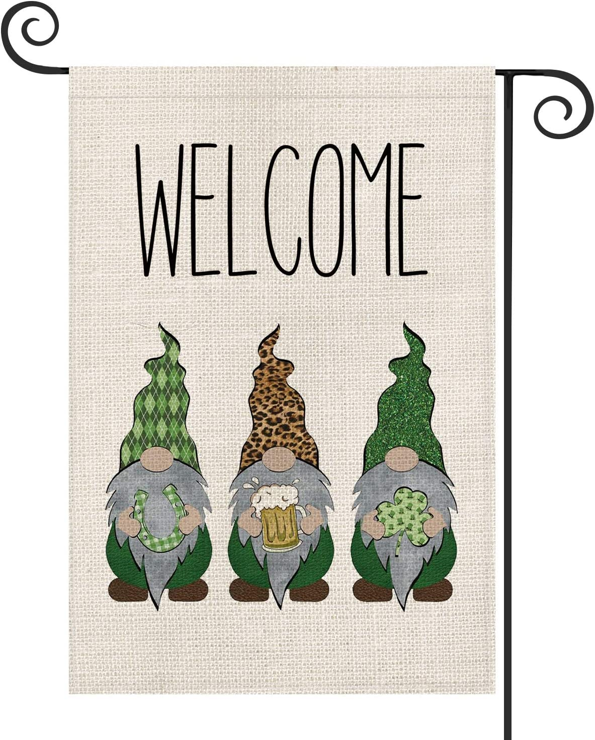 AVOIN Welcome Gnome St Patrick's Day Garden Flag Vertical Double Sided, Leprechaun Horseshoe Beer Shamrock Leopard Yard Outdoor Decoration 12.5 x 18 Inch