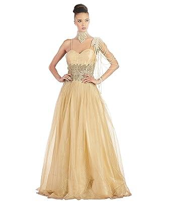 Khwaab Womens Golden Zari Work Sleeveless Full Length Party wear Indian Designer Wedding Dress (Bust