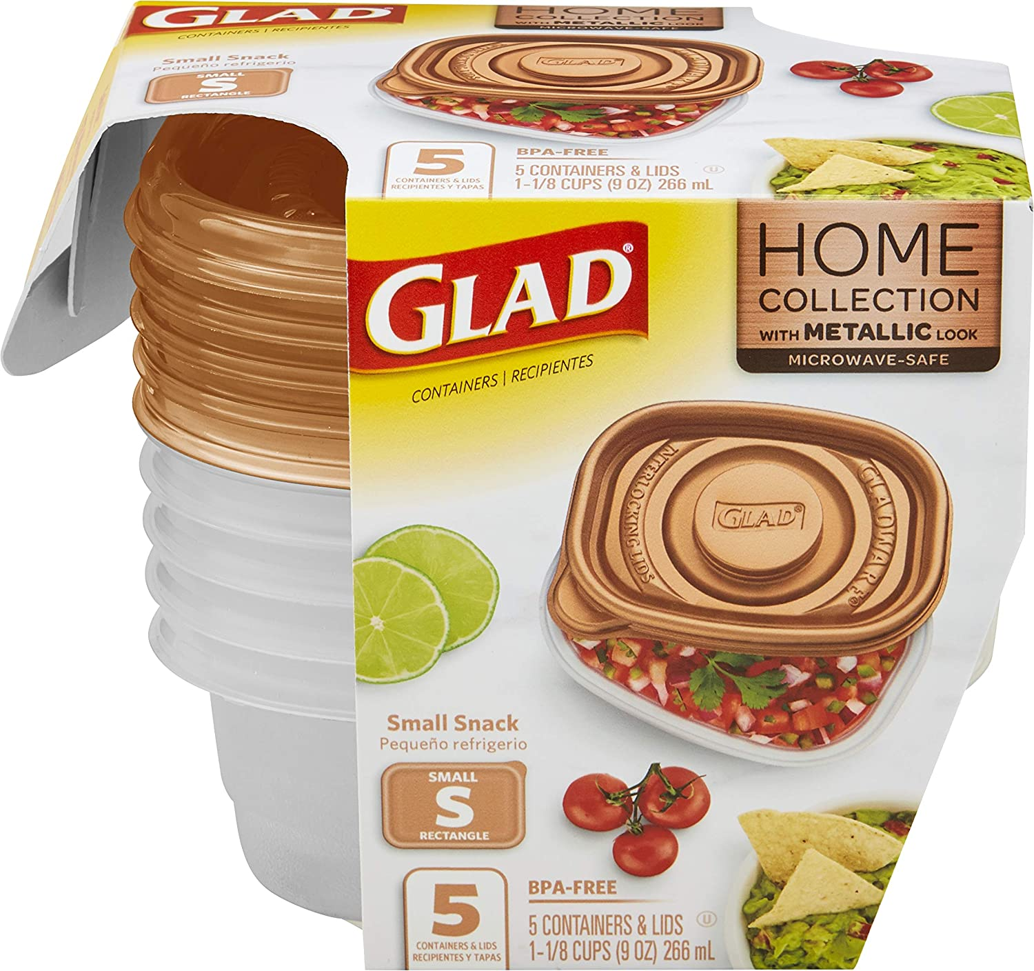 GladWare Home Snack Food Storage Containers, Small Rectangle Holds 9 Ounces of Food, 5 Count Set