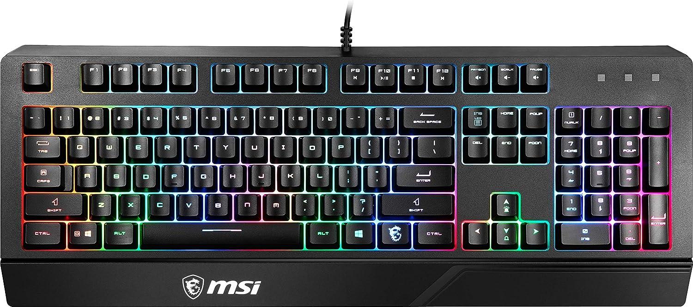 MSI Vigor GK20 ES - Teclado Gaming en español con Cable, mecamembrana, RGB, 12 Teclas Anti-ghosting, Resistente a Salpicaduras, Base Antideslizante