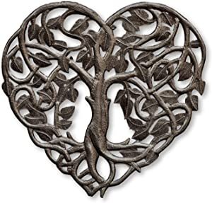 Handmade Tree of Life, Small Heart Shaped Wall Hanging Plaques, Decorative Figurine, Recycled Steel Artwork,14.25 In. X 14.25 In. (Heart Tree of Life)