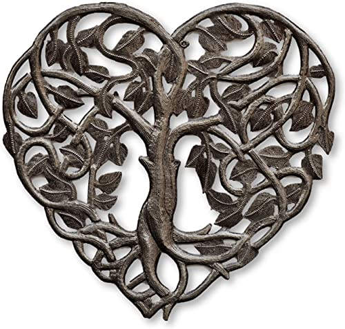 Metal Tree of Life Heart Shaped Haitian Hand Made Wall Decor, Decoration of Love and Friendship Wall Hanging Plaques, Sign of Peace, Handmade in Haiti,14.25 in. X 14.25 in. Heart Tree of Life