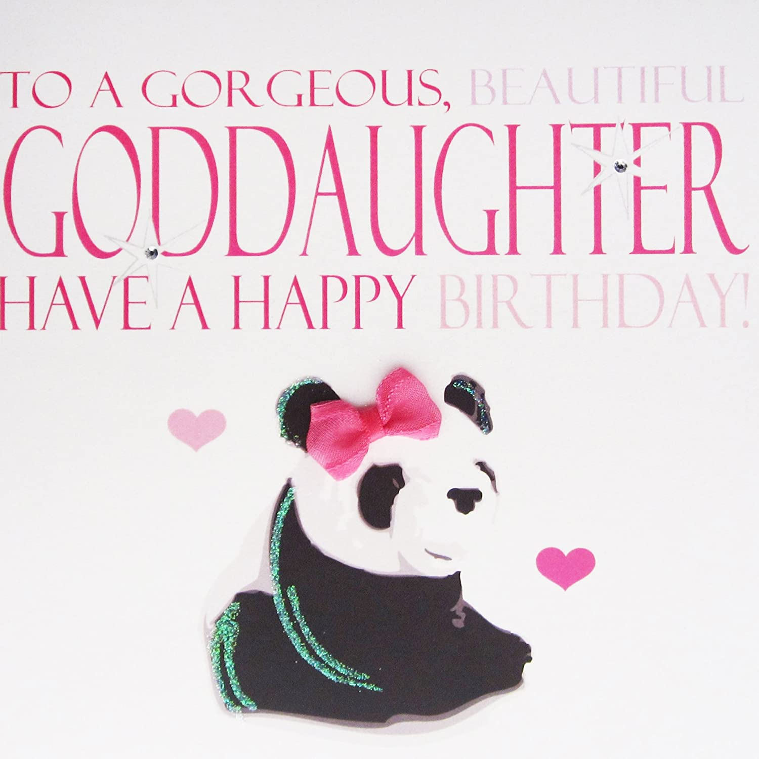 WHITE COTTON CARDS To A Gorgeous Beautiful Goddaughter Have Happy Handmade Large Birthday Card Panda Amazoncouk Kitchen Home