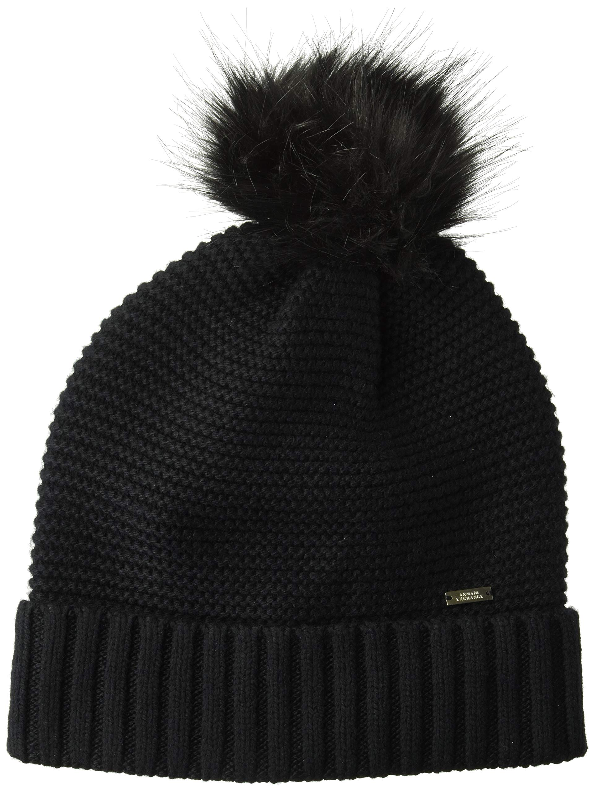 A|X Armani Exchange Women's AX Pom Beanie, Black, TU