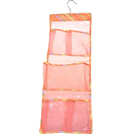 Cosmos ® Orange Color Bath Shower Organizer Mesh Hanger Holder With 5  Compartments For Shampoo Personal