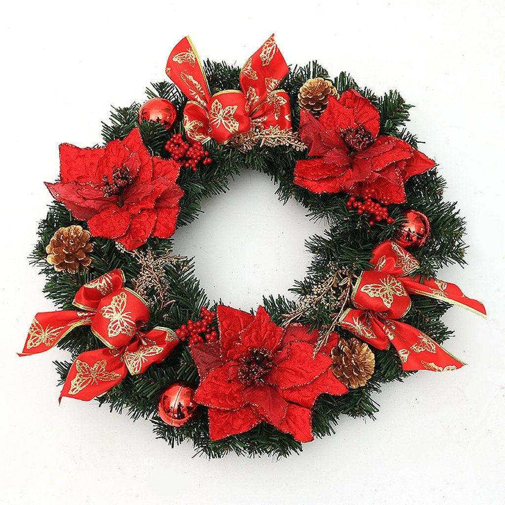 Red Christmas wreath decorated Christmas hotel shopping mall door ornaments ( Size : 45cm )