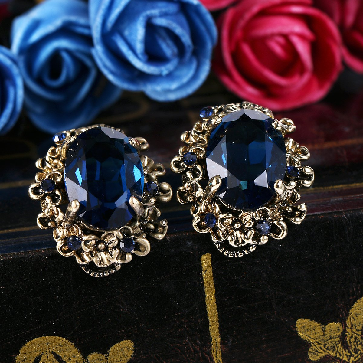 BriLove Antique-Gold-Toned Stud Earrings Women's Victorian Style Crystal Floral Scroll Cameo Inspired Oval Earrings Sapphire Color by BriLove (Image #3)