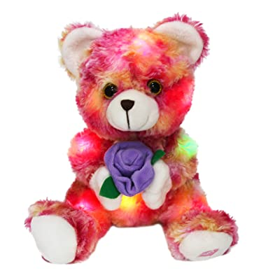 Bstaofy LED Teddy Bear Plush with Purple Rose Light up Stuffed Animals Glow in Dark Ideal Gifts for Girlfriend Birthday Valentine's Day, 9 Inch: Toys & Games