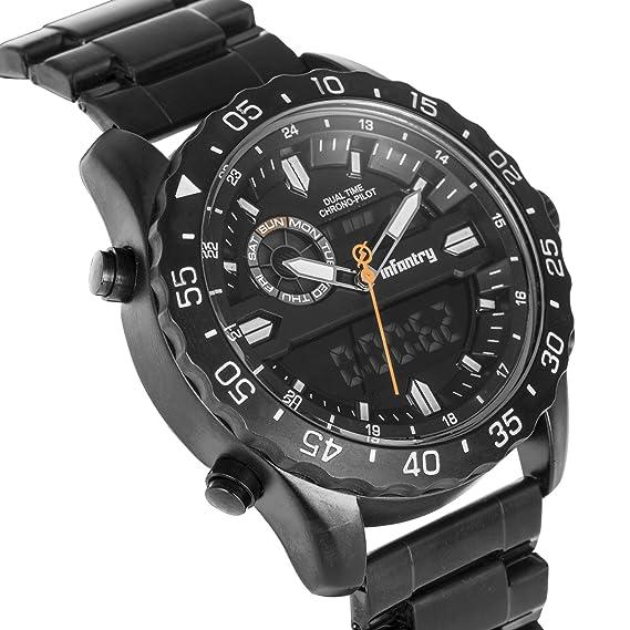 Infantería para hombre Dual Display táctico militar analógico reloj de pulsera resistente con banda de acero