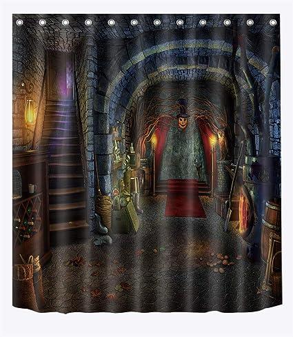 LB Spooky Medieval Dungeon Shower Curtain Set Halloween Themed Decor Bathroom 70x70 Window