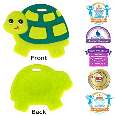 Silli Chews Baby Teethers Natural Silicone Teething Toy Green Sea Turtle Infant Chew Toy : Baby