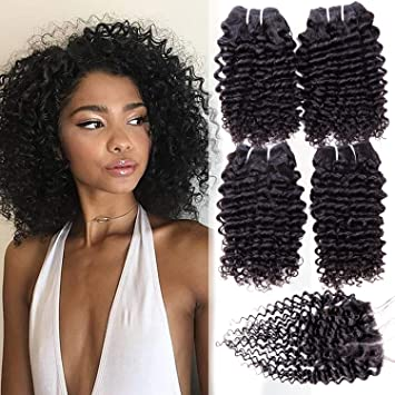 Brazilian Kinky Curly Human Hair 4 Bundles With 4x4 Closure Natural Black  100 Unprocessed Remy Hair 4c0c95c57e12