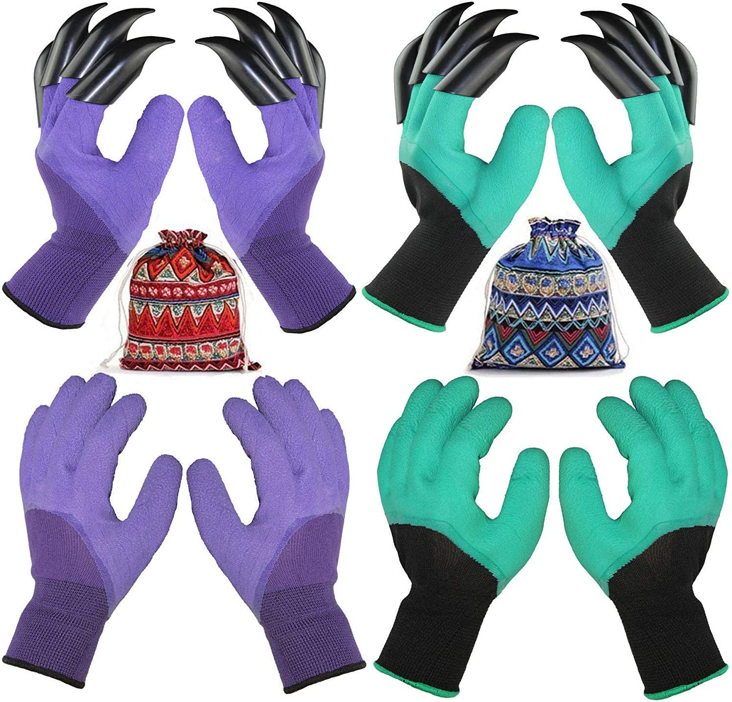 4 Pairs Garden Gloves With Fingertips Claws,Best Gift For Gardener,2 Pairs Working Gloves With Double Claws,2 Pairs without Claws,For Digging and Planting,Breathable. (purple and light green)
