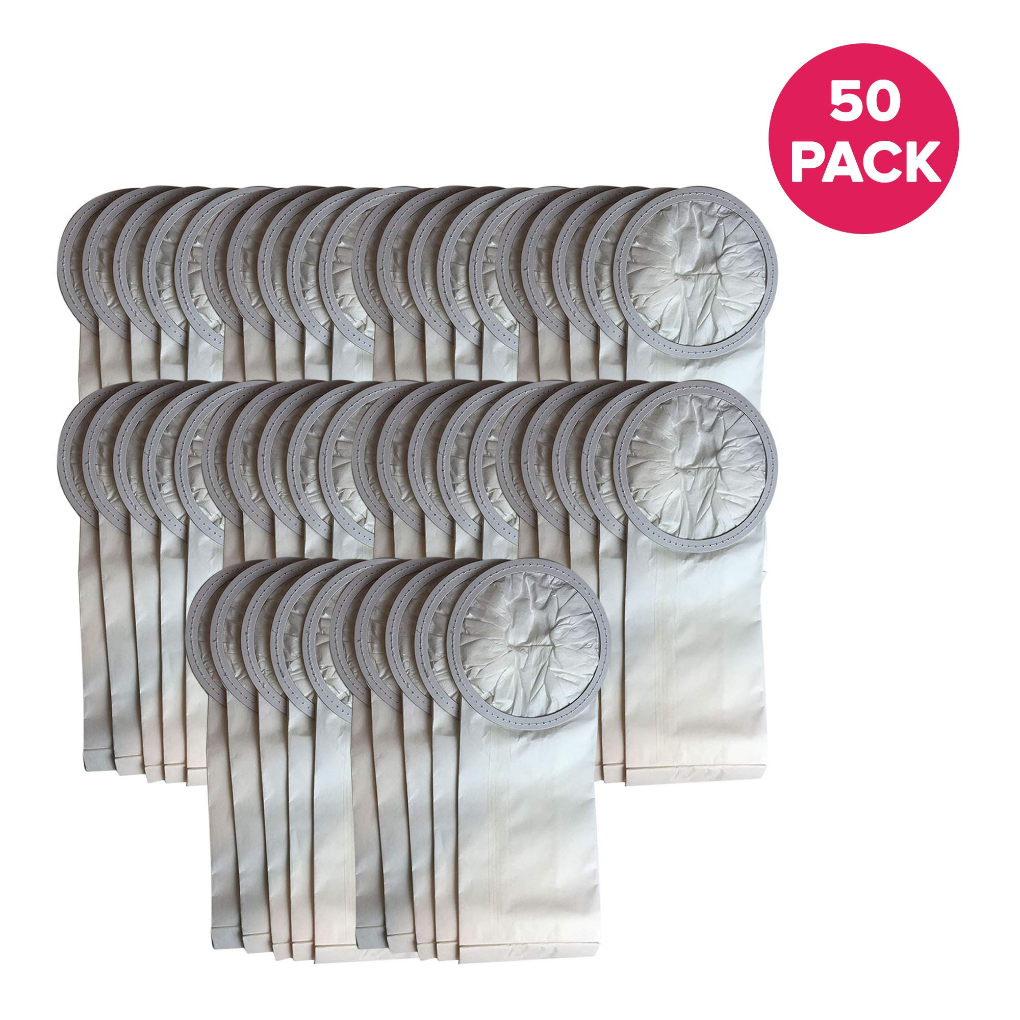 Crucial Vacuum Replacement Vac Bags Part # 100431, 450227 - Compatible with ProTeam 6 QT Bags Fit 6-Quart Backpacks Vac Bags - Compact Disposable Bag - Home, Vacs, Models - (50 Pack)