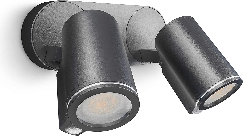 inkl 15 W Steinel Strahler Spot Duo S 90/° Bewegungsmelder per Kabel vernetzbar Aluminium Anthrazit LED GU10-Leuchtmittel