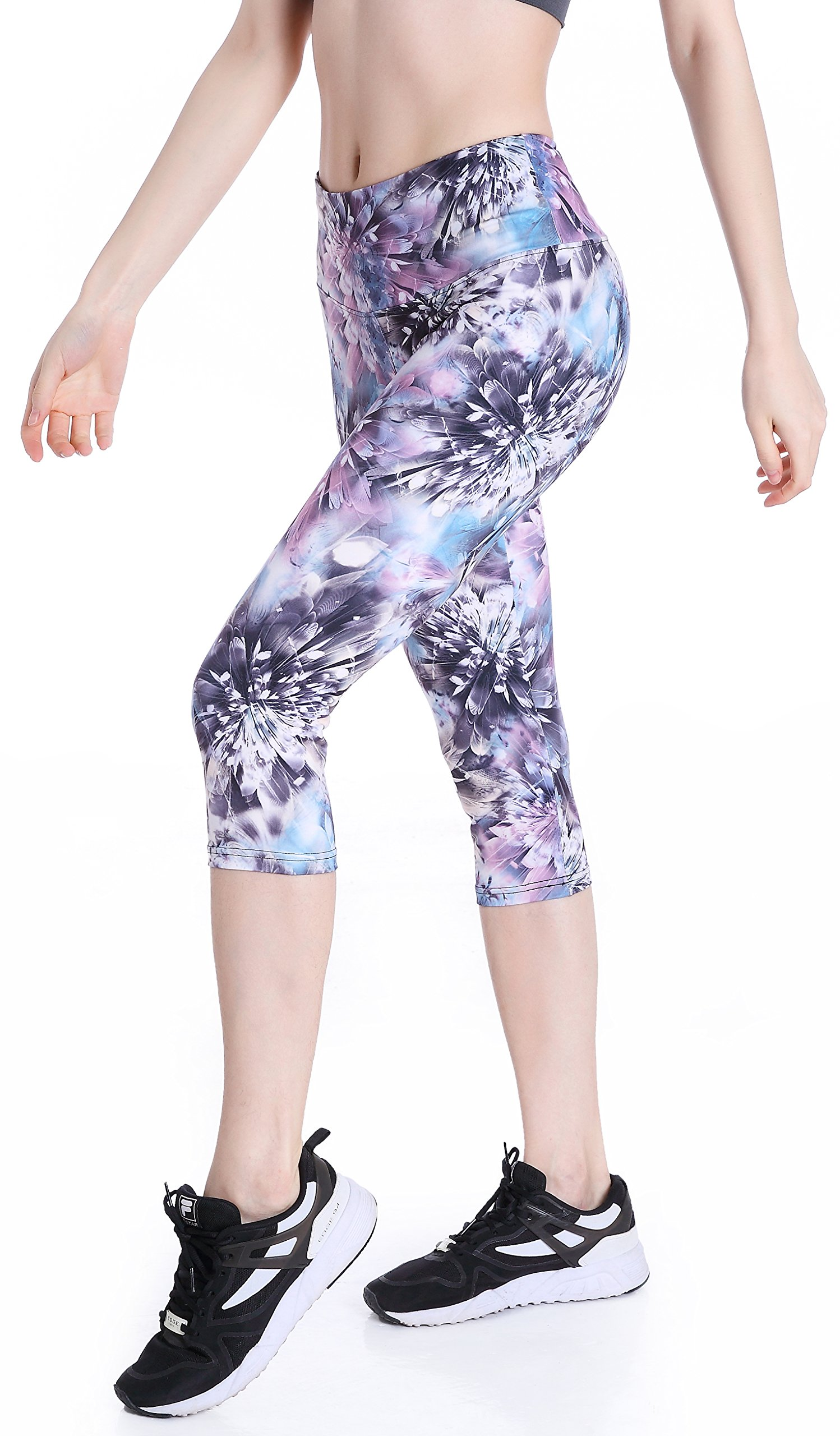 Picotee Women's High Waist Tummy Control Yoga Pants Workout Capri Leggings w Hidden Pocket (Diamond Flower, L)