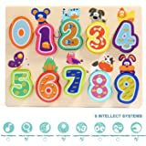 TOP BRIGHT Wooden Number Puzzles for 1 Year Old Girl and Boy Gifts Learning Toys for Toddlers