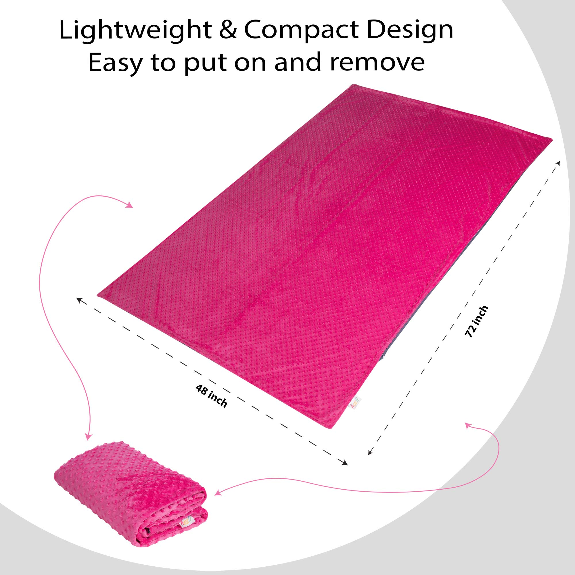 Double Sided Duvet Cover for Weighted Blanket - 48''x 72'' Soft Cotton and Cooling Bamboo Weighted Blanket Covers - Removable and Washable Blanket Cover for Hot and Cold Nights (Pink Cover) by Hazli (Image #7)