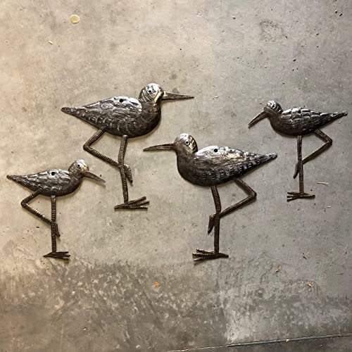 New Sandpiper Coastal Birds, Ornamental Sea Birds, Decorative Home Art, Nature Inspired, Handmade in Haiti, 4, Large and Small, 8.5 in. X 9 in, 6.5 in. X 6.5 in.