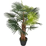 Homescapes 3 ft Green 'Lady Palm' Tree Artificial Rhapis Plant with Black Pot, 90 cm