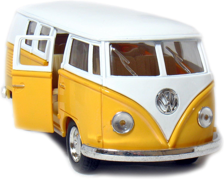 """Set of 4:5/"""" Classic 1962 Volkswagen Van 1:32 Green//Maroon//Red//Yellow bus diecast"""