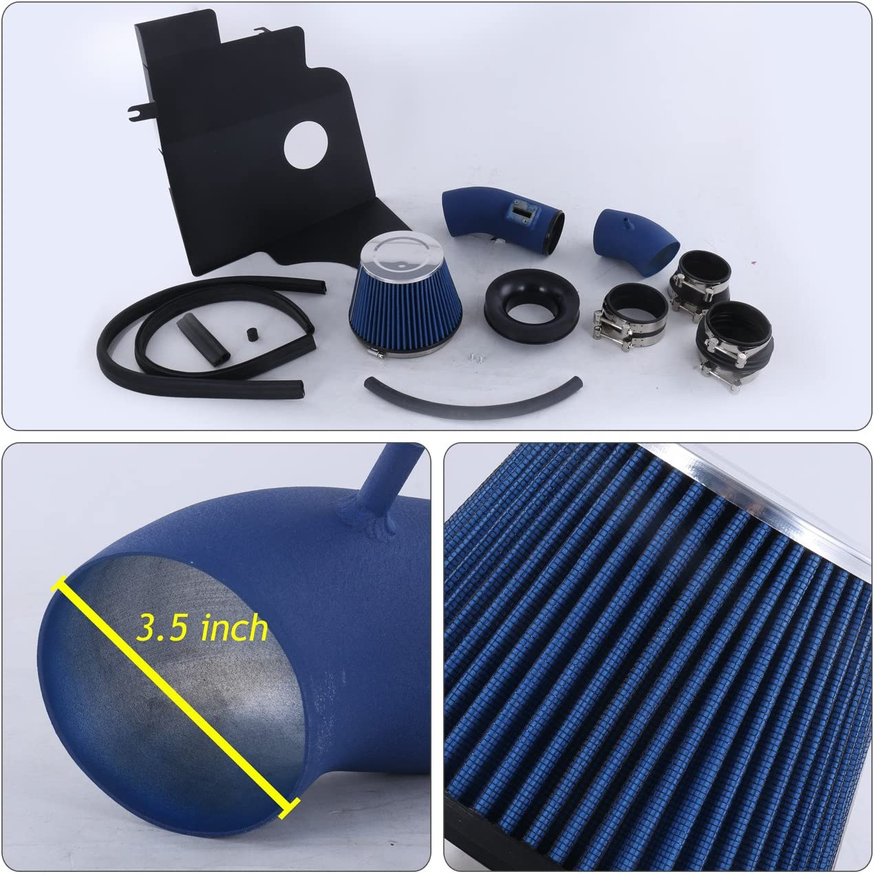 Heat Shield Red Wrinkle Piping Kit AJP Distributors For Ford Mustang 3.7L V6 High Flow Induction Air Intake System