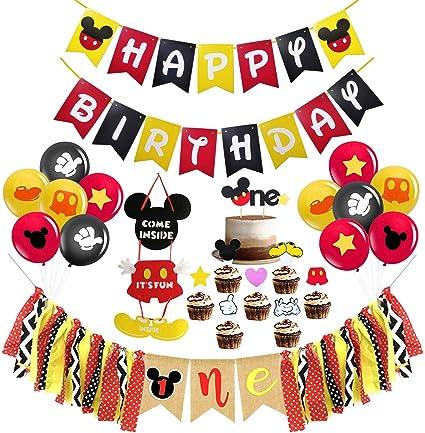 Amazon.com: Decoración de fiesta de cumpleaños de Mickey ...