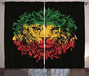 """Ambesonne Rasta Curtains, Ethiopian Flag Colors on Grunge Sketchy Lion Head with Black Backdrop, Living Room Bedroom Window Drapes 2 Panel Set, 108"""" X 108"""", Lime Green"""