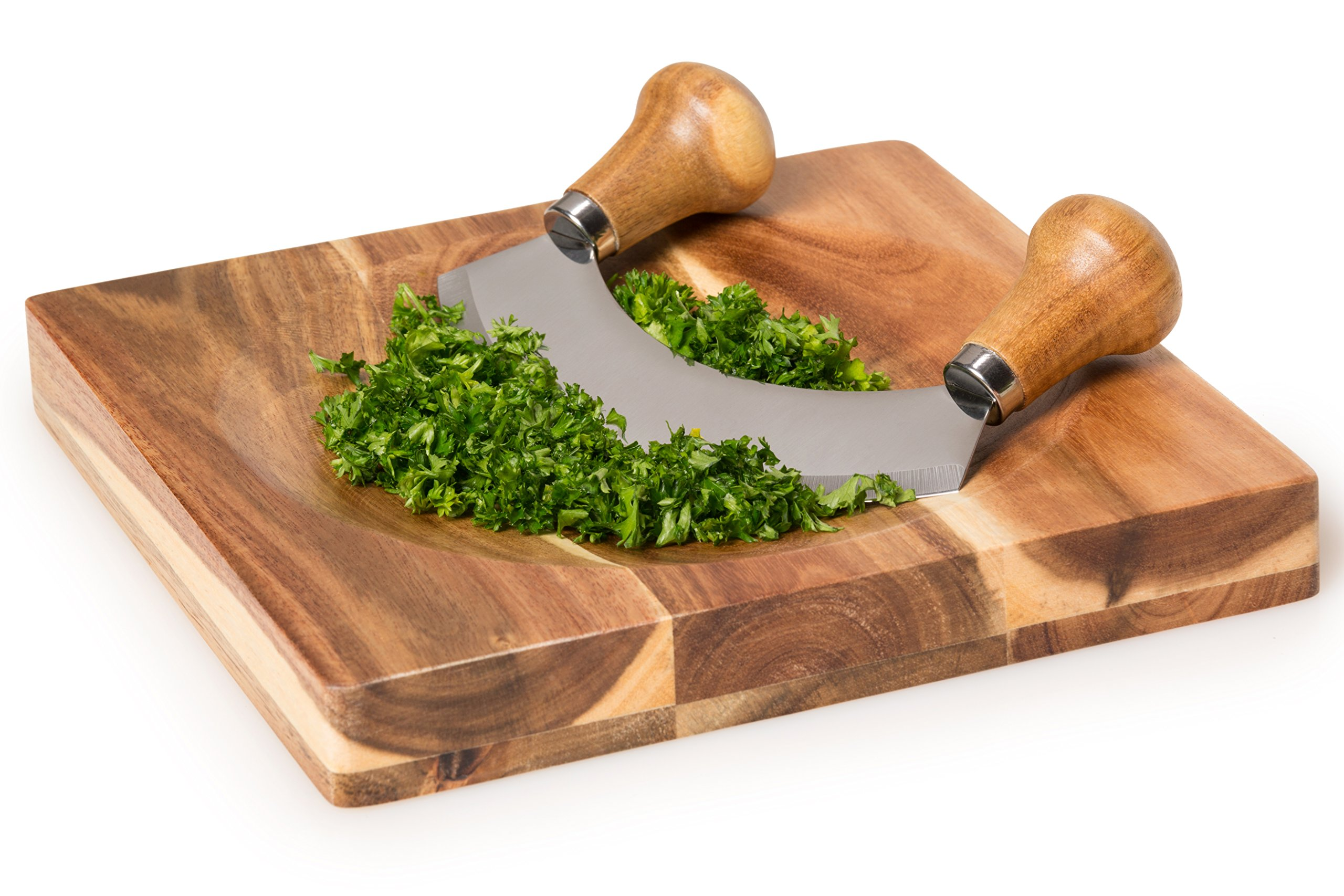 Stainless Steel Mezzaluna Chopper w/ Sheath and Reversible Acacia Cutting Board