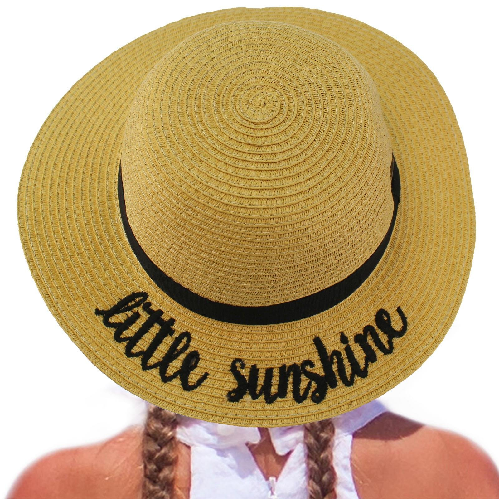 C.C Girls Kids Wording Sayings Summer Beach Pool Floppy Dress Sun Adjustable Hat Natural (Little Sunshine)