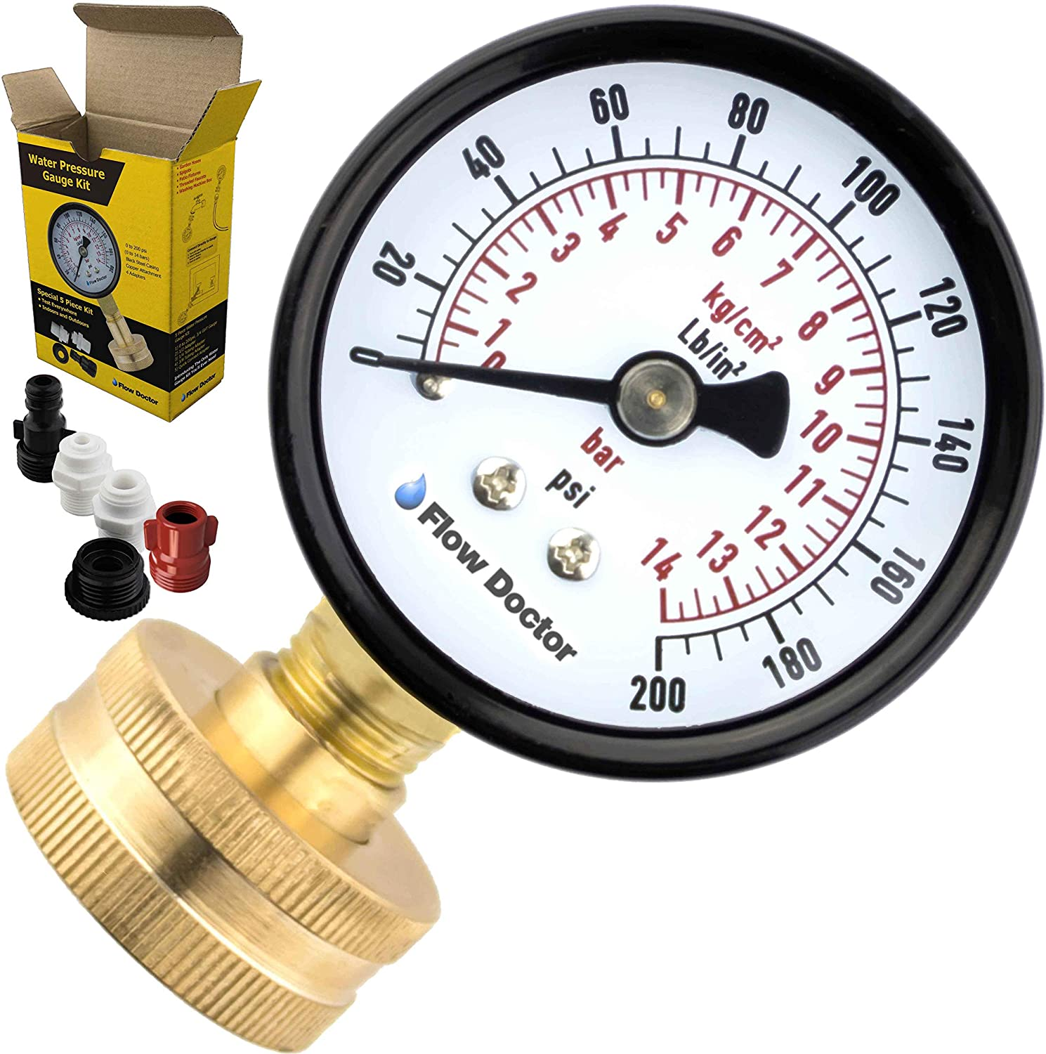 """Flow Doctor Water Pressure Gauge Kit, All Purpose, 6 Parts Kit, 0 to 200 Psi, 0 to 14 Bars, Standard 3/4"""" Female Garden Hose Thread Plus 5 Adapters to Test in Multiple Locations Indoors and Outdoors : Garden & Outdoor"""