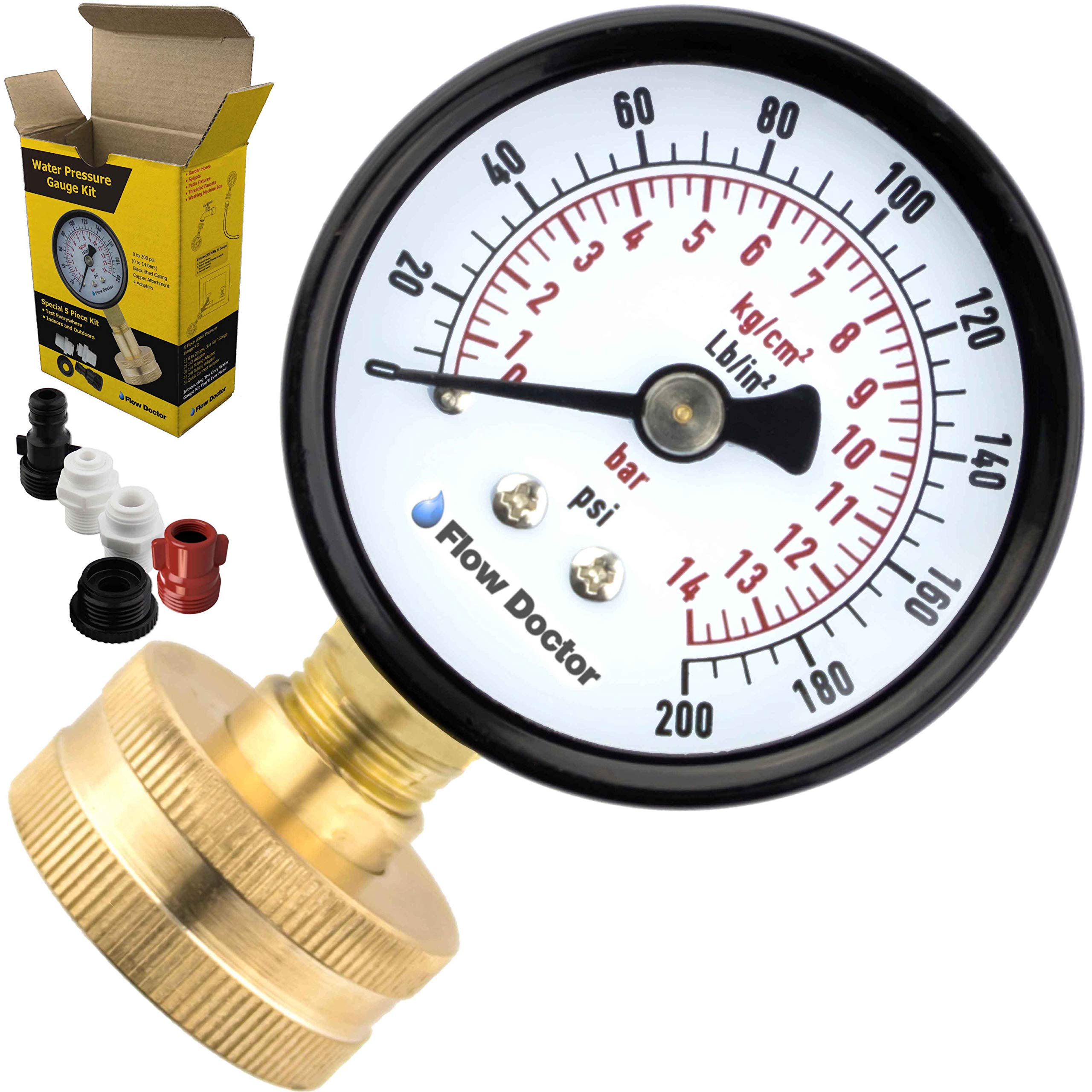 Flow Doctor Water Pressure Gauge Kit, All Purpose, 6 Parts Kit, 0 To 200 Psi, 0 To 14 Bars, Standard 3/4'' Female Garden Hose Thread Plus 5 Adapters To Test in Multiple Locations Indoors and Outdoors