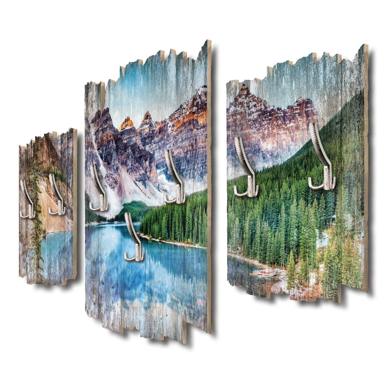 Kreative Feder Kanada Moraine Lake Designer Wandgarderobe Flurgarderobe Wandpaneele 95 x 60 cm aus MDF-Holz DTGH016