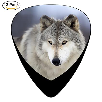 BR PINNEONE Cool Wolf Guitar Picks Plectrums For Bass 12 Pack Thin Medium