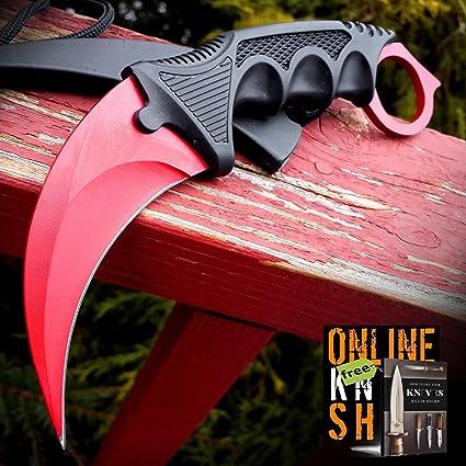 Amazon.com: Cuchillo militar de caza de carbón para caza ...